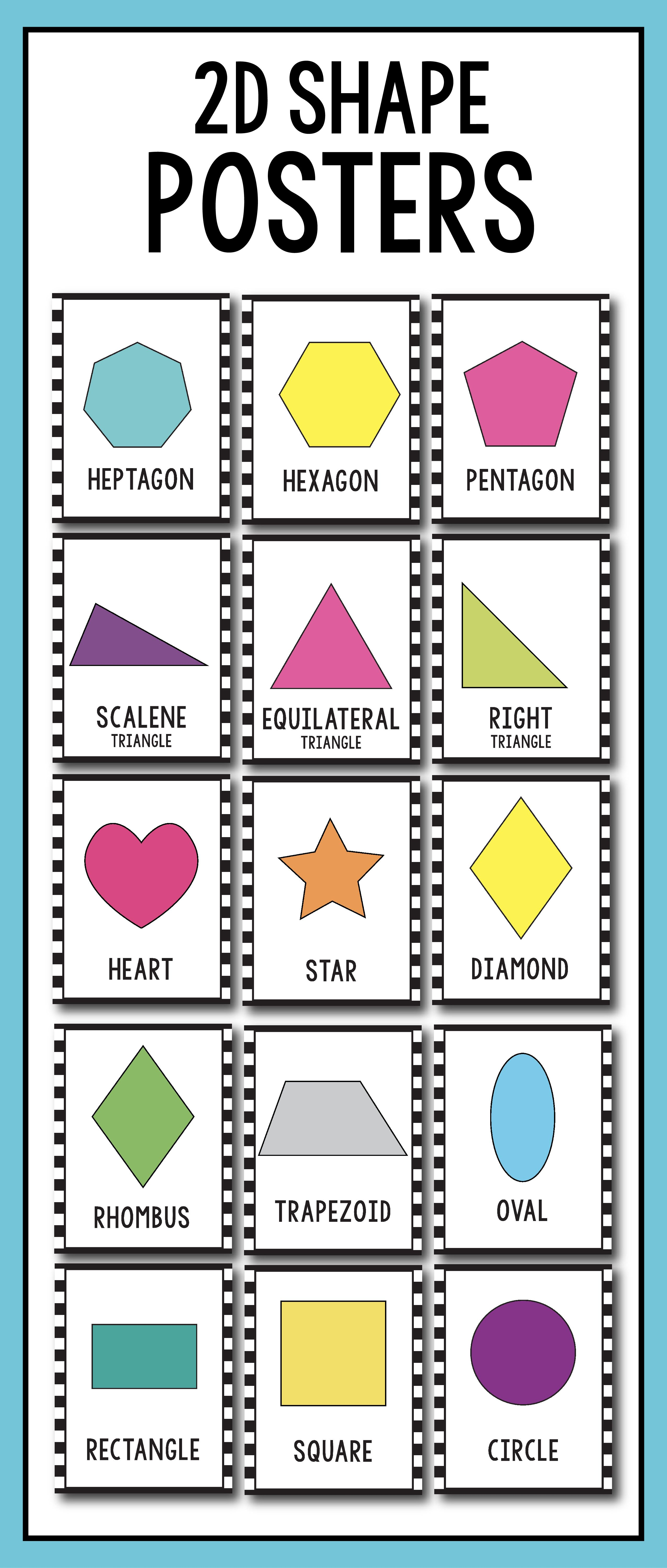 2d Shape Posters 2d Shape Printables Black And White Classroom Decor Shape Posters Shapes Preschool Printables Preschool Displays