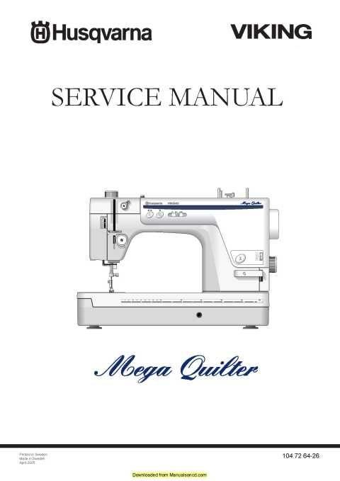 Husqvarna Viking Mega Quilter Service Manual Plus Parts