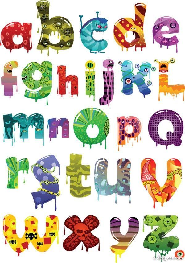4 designer vector cartoon letters of the alphabet vector