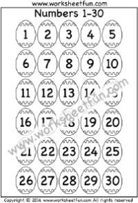 Easter Worksheets – Number Chart 1-30