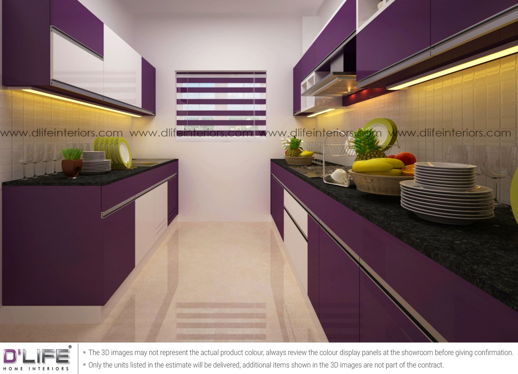 Parallel Kitchen Interiors In Purple Frosty White Kitchen Design Open Parallel Kitchen Design Kitchen Design Color