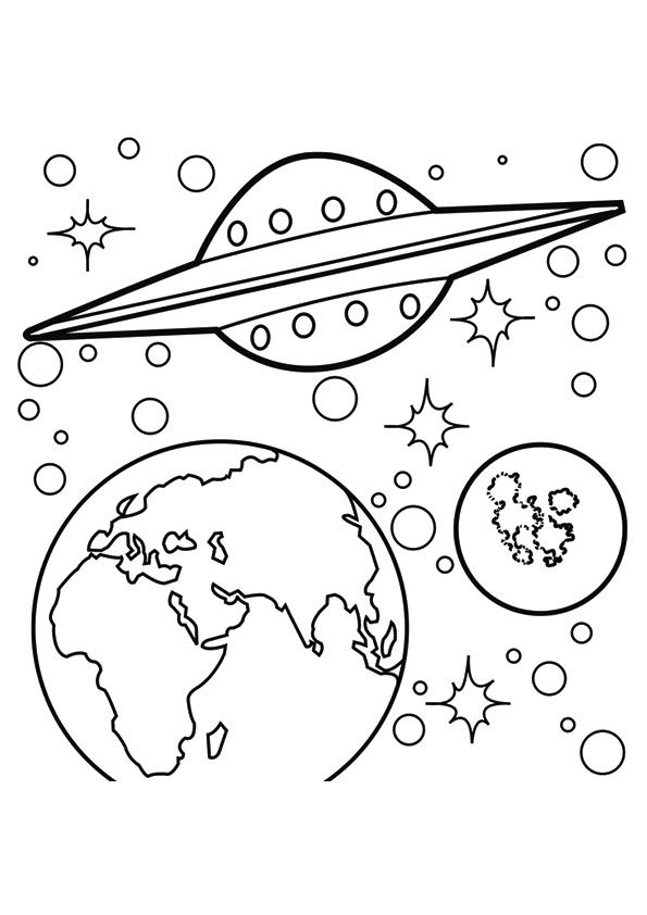 Spaceship In Space Space Coloring Pages Planet Coloring Pages