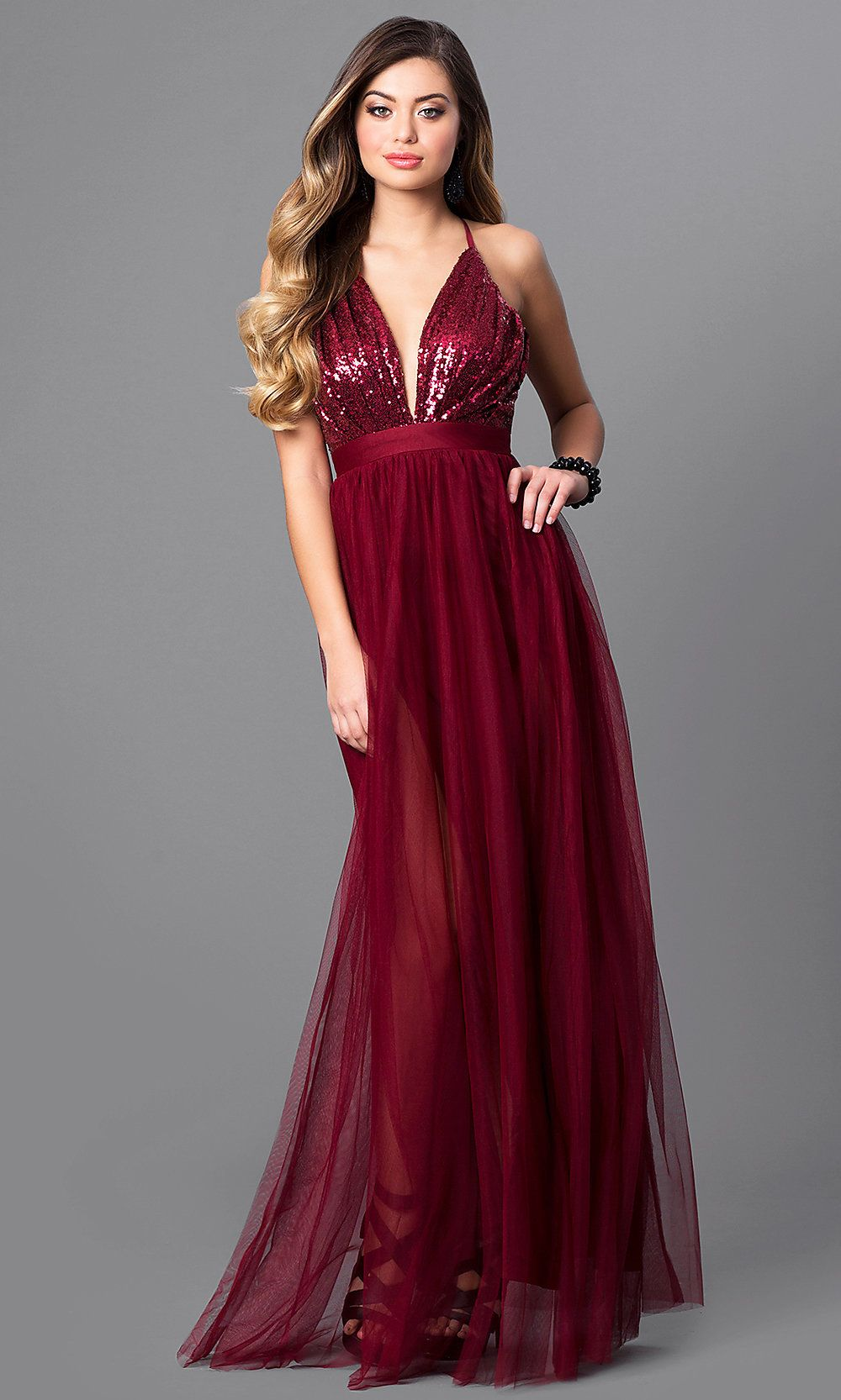 c43ddbe91802 Long V-Neck Tulle Prom Dress with Empire Waist in 2019 | prom | Prom ...