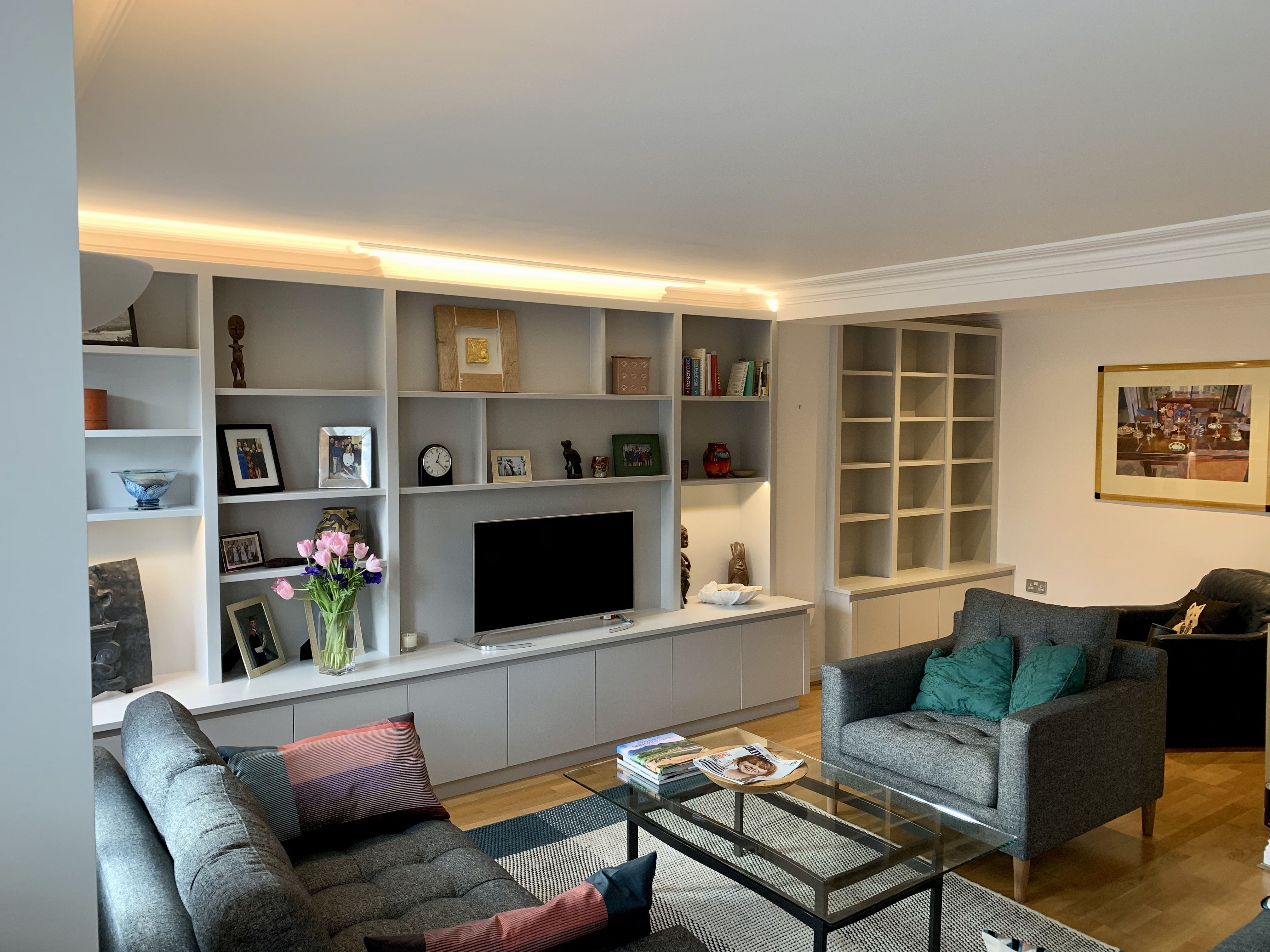 Wall To Wall Tv Media Unit With Areas For Books And Display Living Room Wall Units Shelving Units Living Room Living Room Storage Solutions