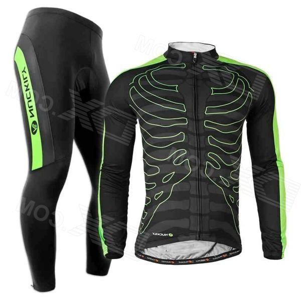 Nuckily CJ122 CK122 Cycling Long Sleeves Jersey + Pants for Men - Black + Green (Size L)