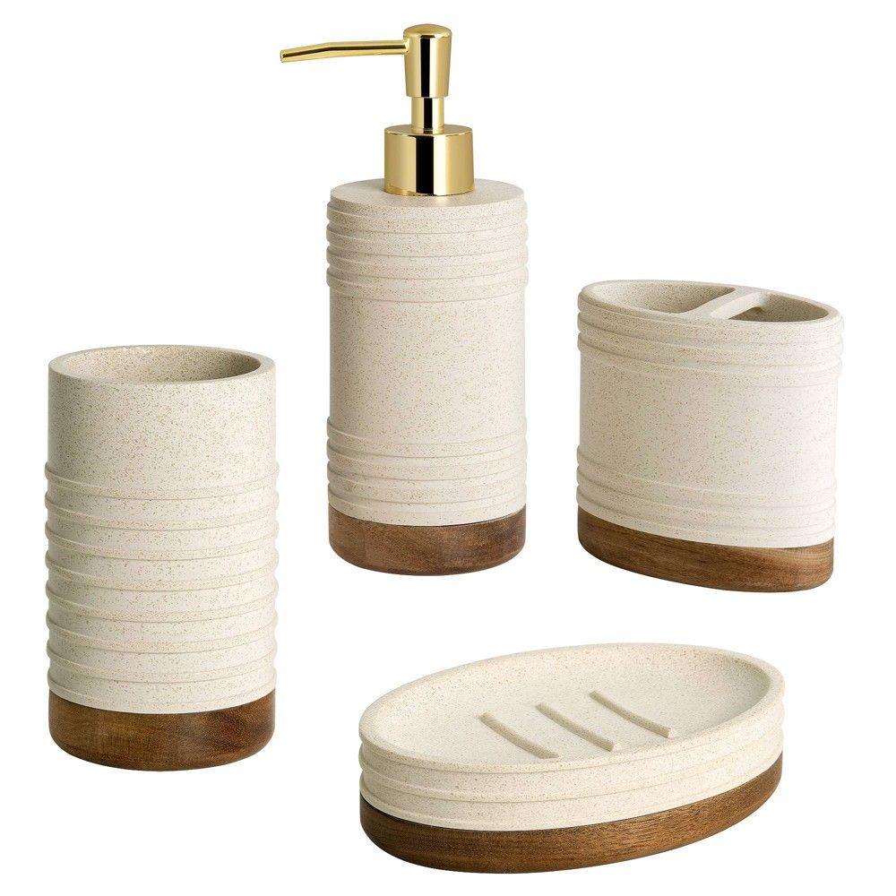 4pc Marson Lotion Pump Toothbrush Holder Tumbler Soap Dish Set Gray Natural Allure Home Creations Lotion Pumps Bathroom Accessories Sets Bath Accessories Set