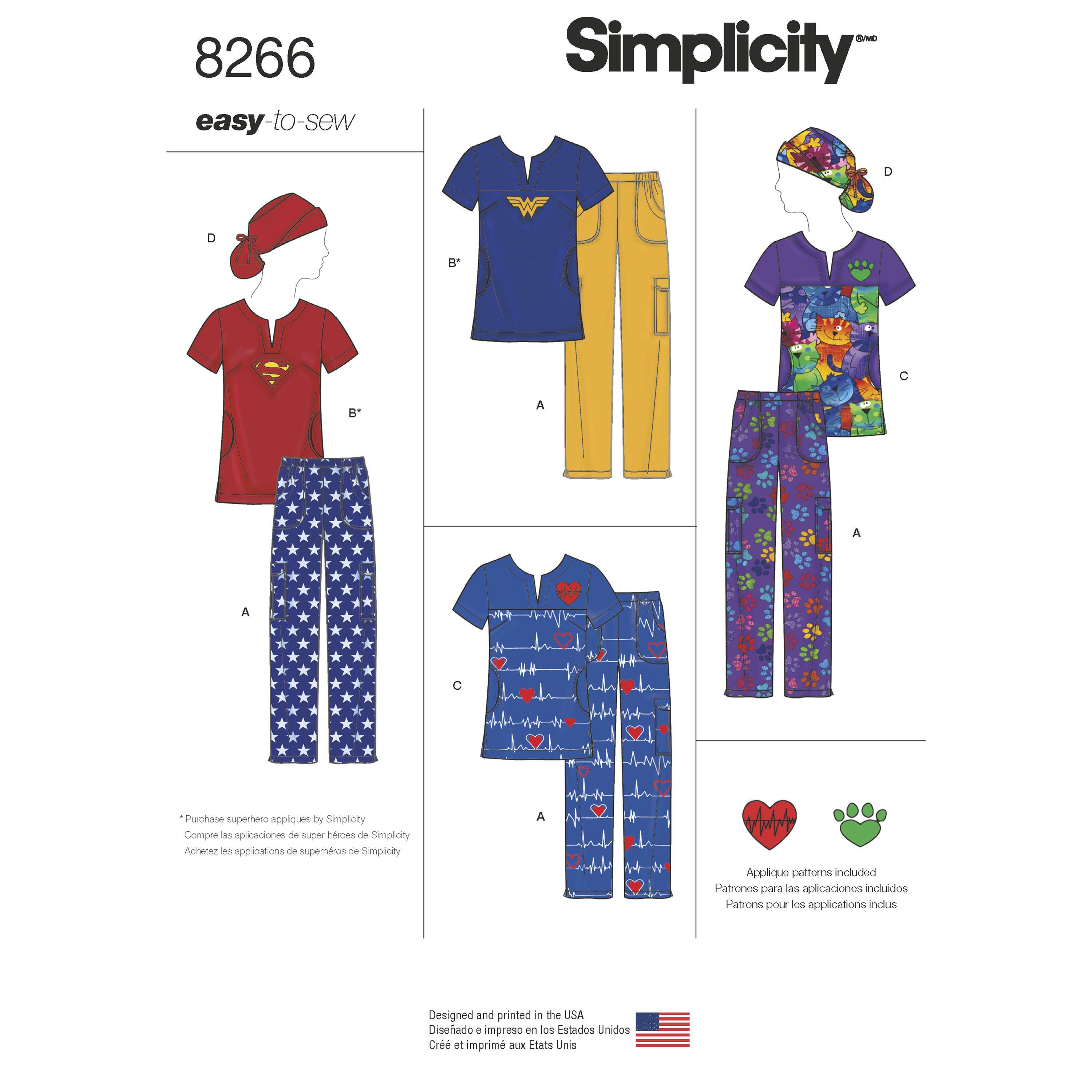 Simplicity Simplicity Pattern 8266 Misses Easy To Sew Scrubs With Ponytail Hat Scrub Hat Patterns Hat Patterns To Sew Simplicity Sewing Patterns