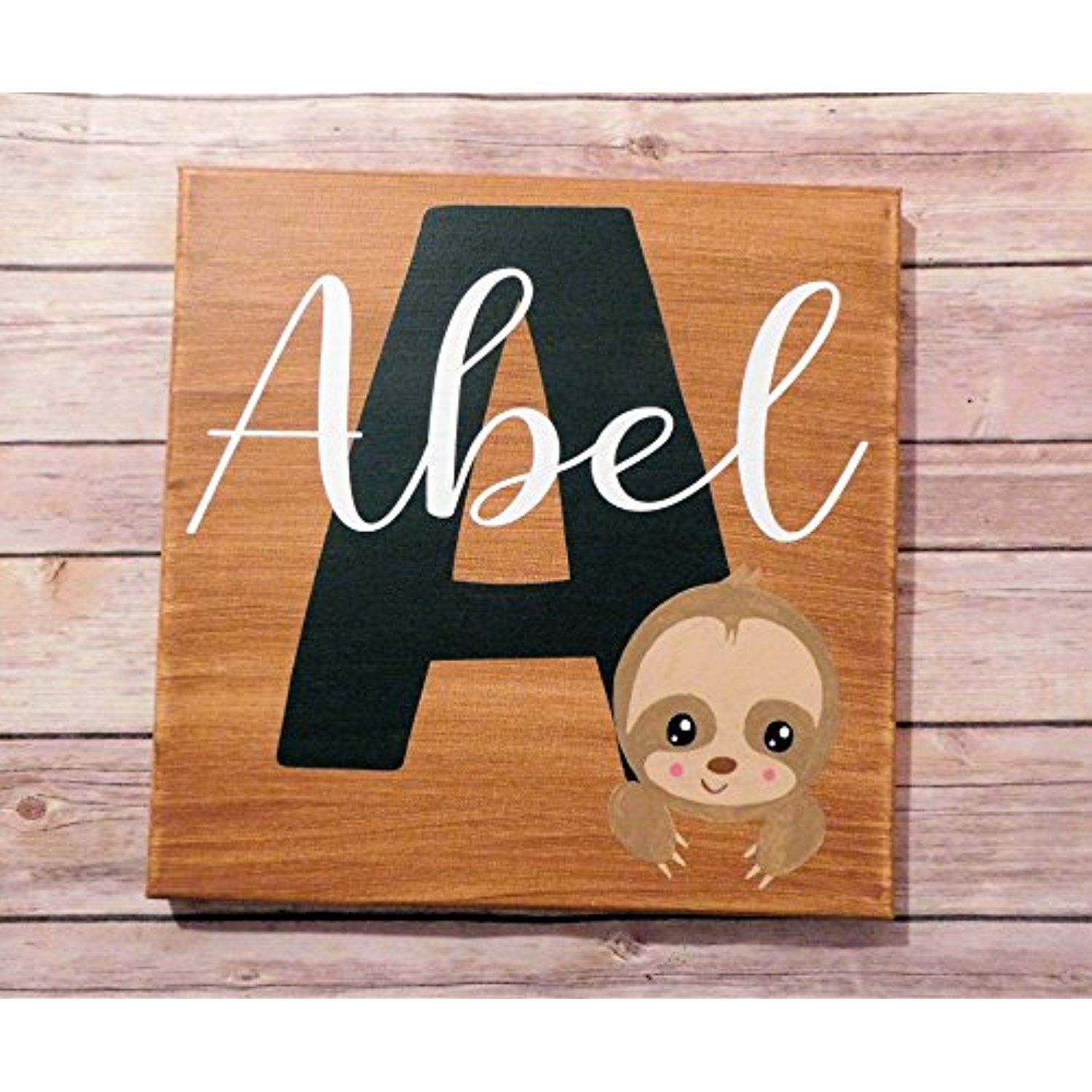 Baby Room Sign Decor Sloth Custom Name Painted Canvas 12X12