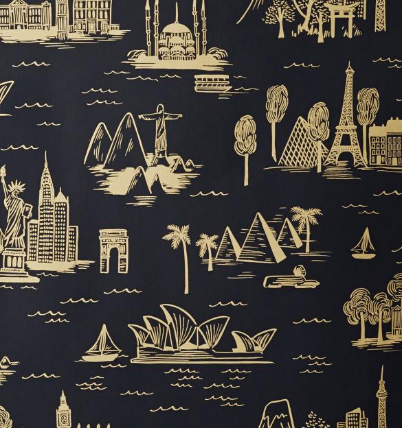 City Toile Ebony Wallpaper