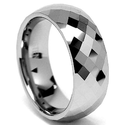 Multi Faceted Mens Tungsten Wedding Band 8mm