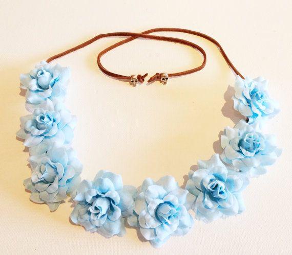 Light Blue Rose Bud Flower Crown/Headband/Coachella/Festival/Parties $12