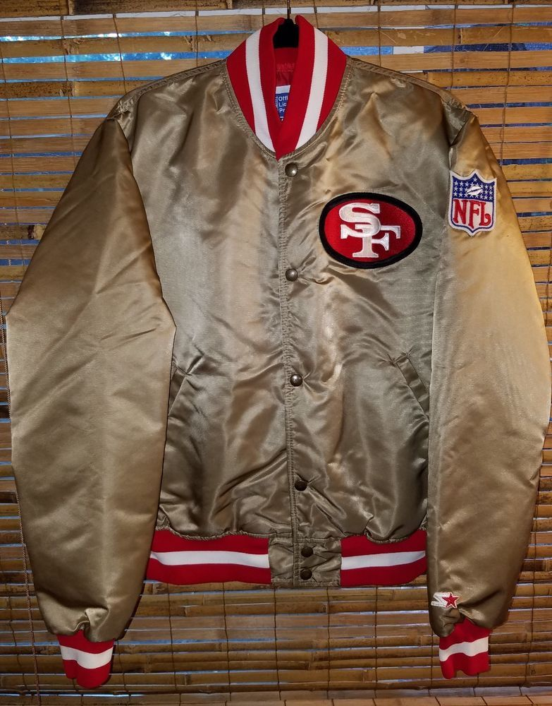 Mens Vintage Authentic Starter NFL SF 49ers Jacket Gold