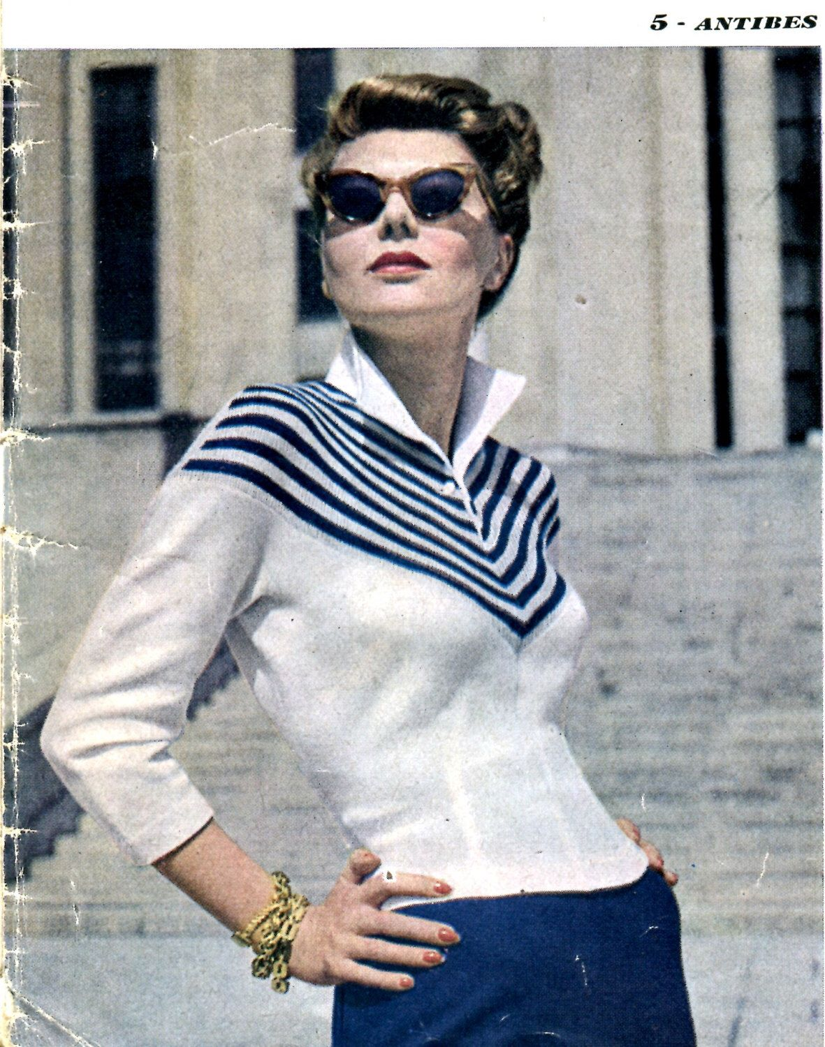 972aca948be510 1949 Mon Tricot French Mid Century Modern Chevron Stripe Fitted Knitted  Sweater PDF Pattern Instant Download