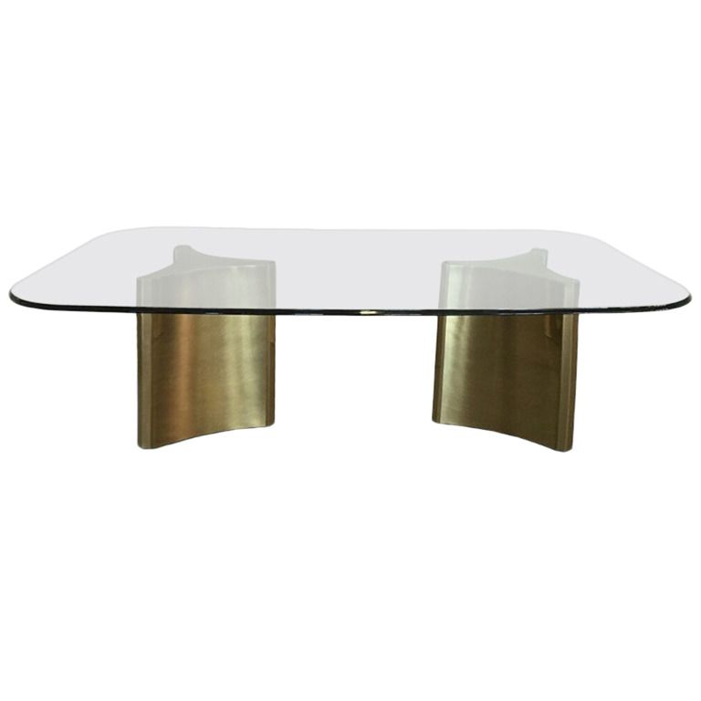 Mastercraft Double Pedestal Dining Table With Glass Top From A