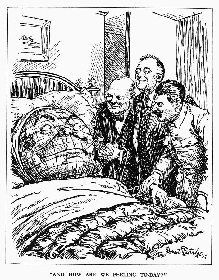 Cartoon Big Three 1945 And How Are We Feeling Today English Cartoon 1945 By Sir Bernard Partridge Depic Cold War Military Cold War Propaganda History