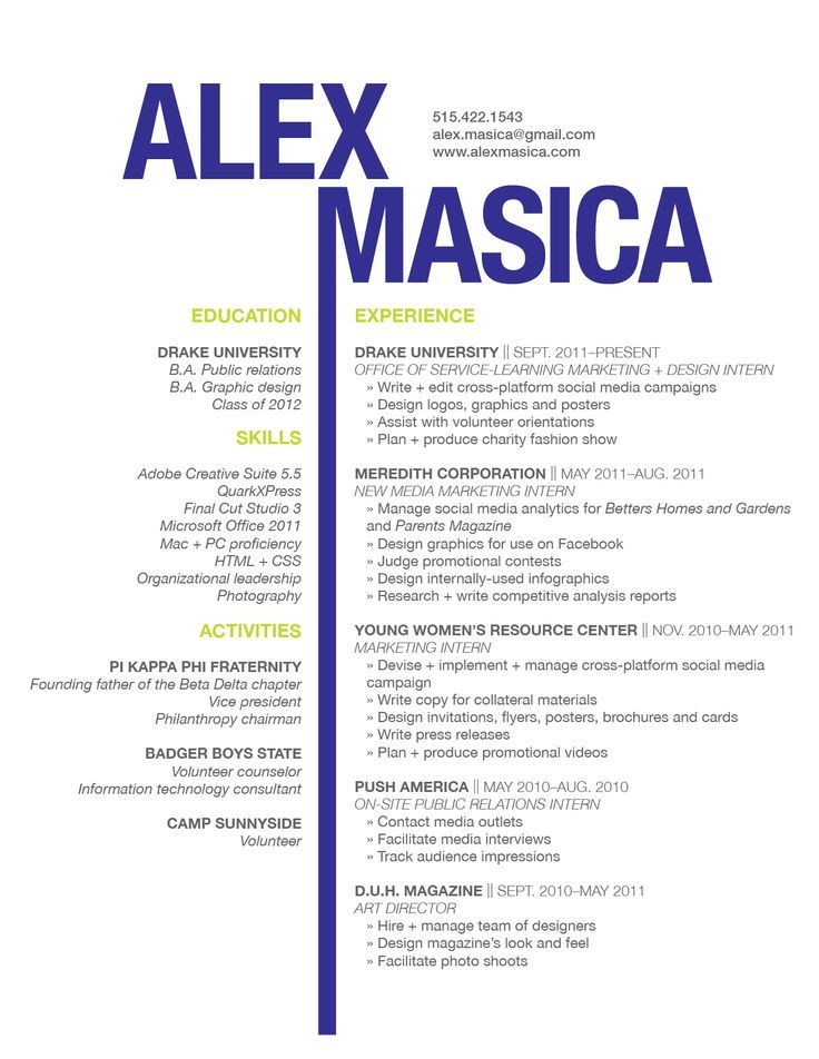 Graphic Design Resume Examples -    wwwresumecareerinfo - public relations intern resume