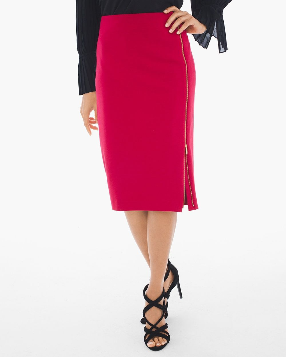 c62c78979db8 Chico s Women s Side-Zip Ponte Pencil Skirt