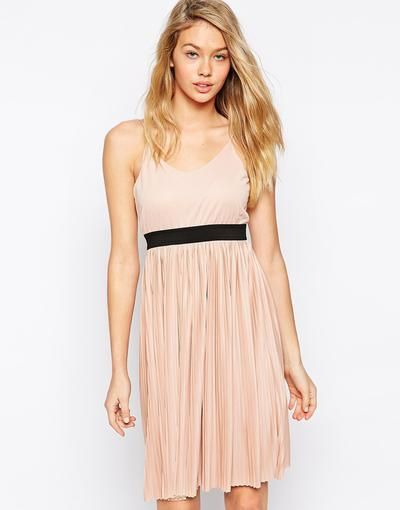 Blush pleated cami dress. So cute for spring/summer!