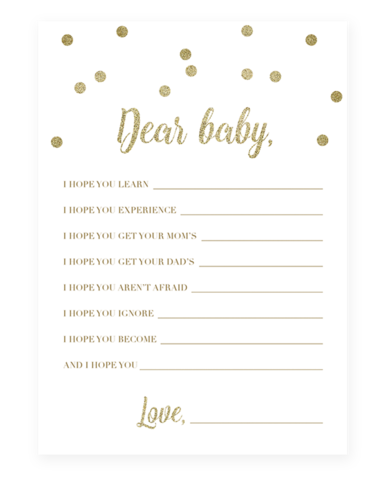 Printable Baby Shower Wishes For Baby Gold In 2018 Party Ideas