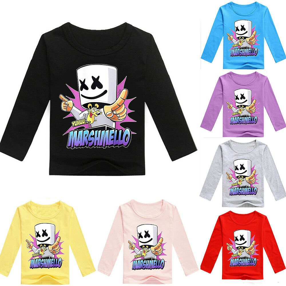Marshmello Boys Girls Kids Long Sleeve T Shirt Tops Spring Fall
