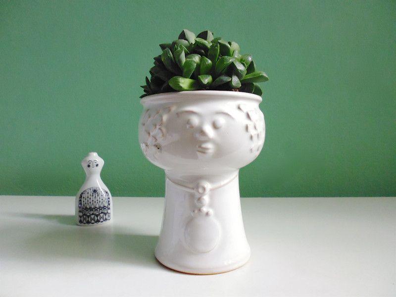 Head / Face Planter Mid Century / Vintage+Pflanzkopf+Übertopf+Bubikopf+60er+von+ILoveSparrows+auf+DaWanda.com