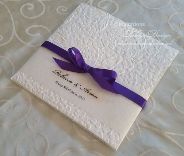 Spring Wedding Invitation With Purple Ribbon And Floral White