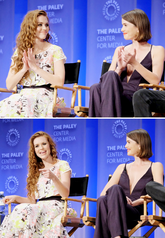 Holland Roden and Shelley Hennig attend the Teen Wolf panel at The Paley Fest on March 11th, 2015