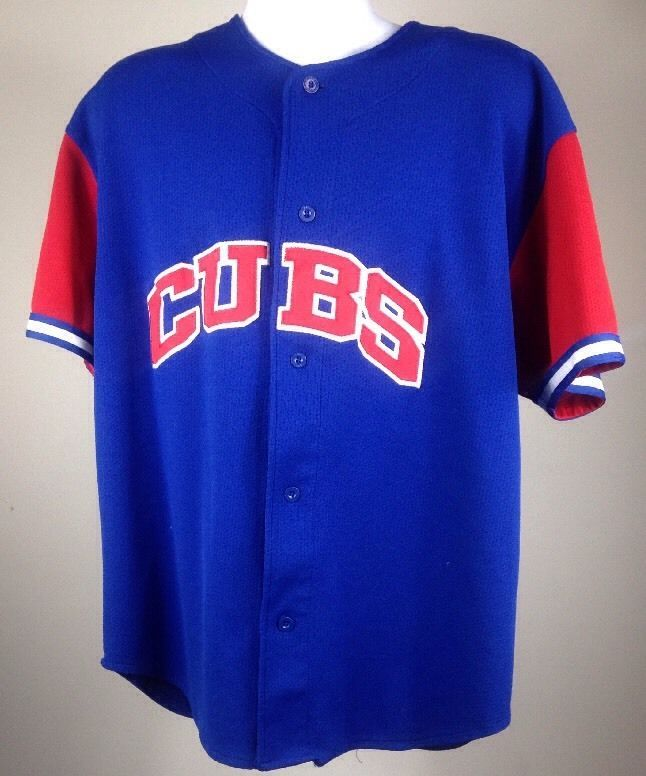 06e0b57a4 Vintage Chicago Cubs 21 Sammy Sosa Sewn Blue and Red Starter Jersey Adult XL