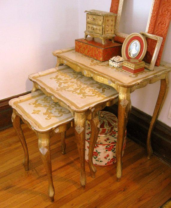 Antique Italian Florentine Nesting Tables Set By Somethingcharming, $249.00
