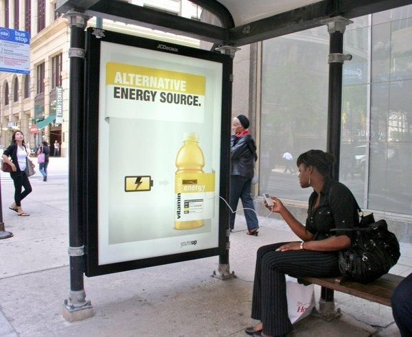 Vitamin Water: Energy Bus Shop that allow commuters to recharge electronic devices