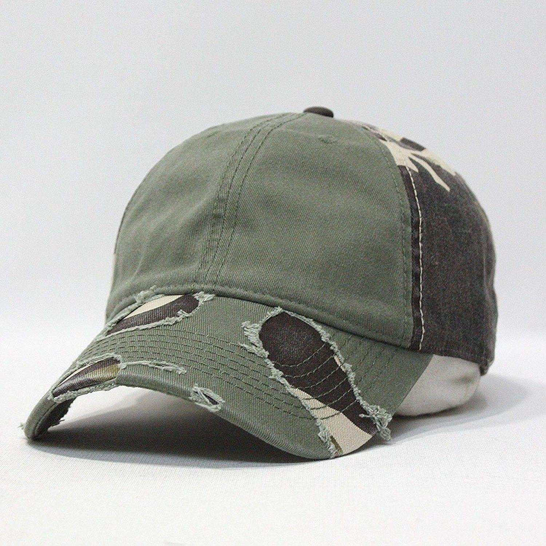 Camouflage Distressed Profile Baseball Adjustable - Olive Green ... 9f40f6fa394