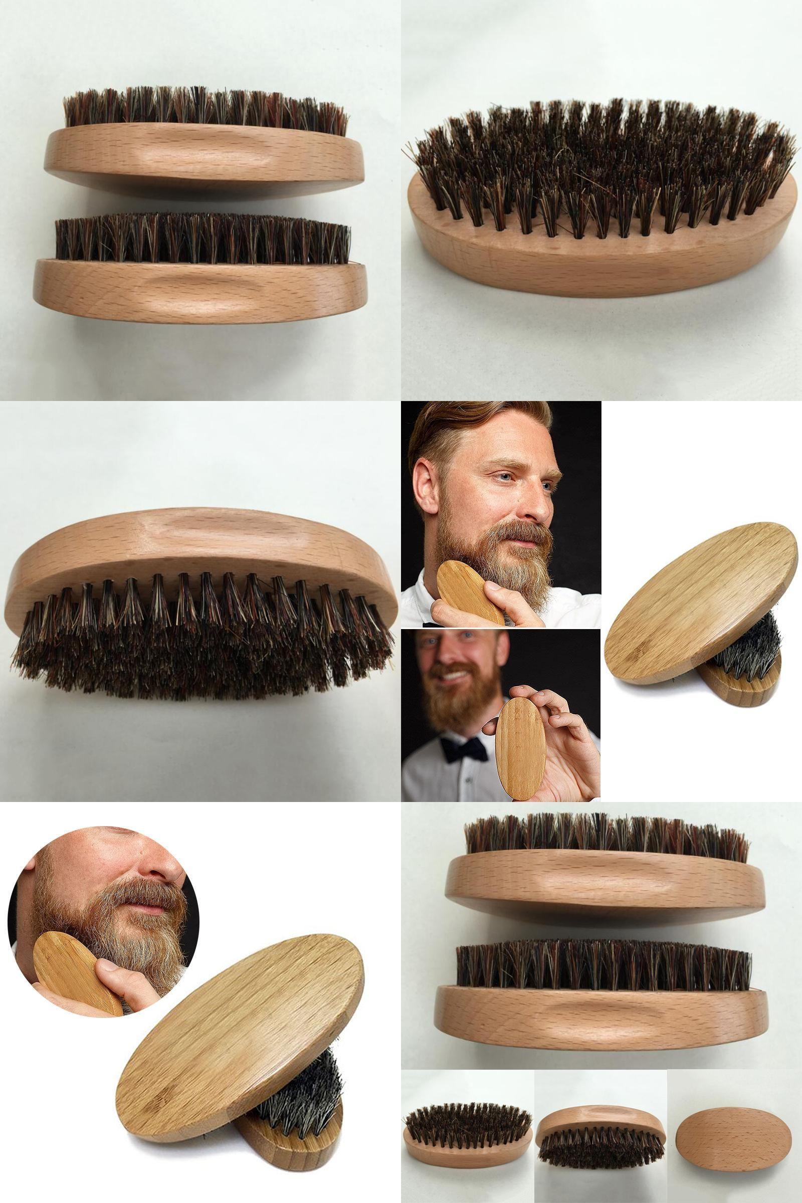 [Visit to Buy] Natural Boar Bristle Beard Brush Mustache