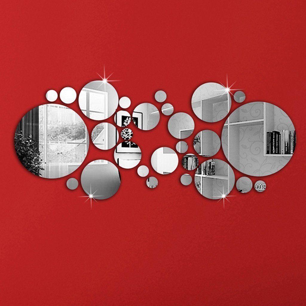 30pcs autocollant mural rond amovible style miroir d coration pour maison cuisine. Black Bedroom Furniture Sets. Home Design Ideas