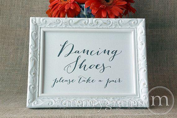 Dancing Shoes Wedding Sign - Flip Flops Basket Sign Tag -Wedding ...