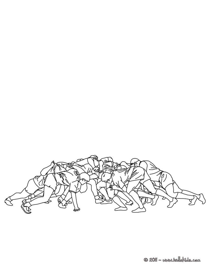Rugby Union Scrum Coloring Page Find More Pages On Hellokids