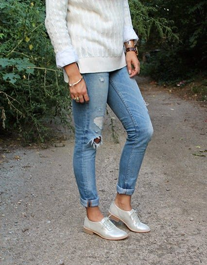 White Sweater + Oxfords