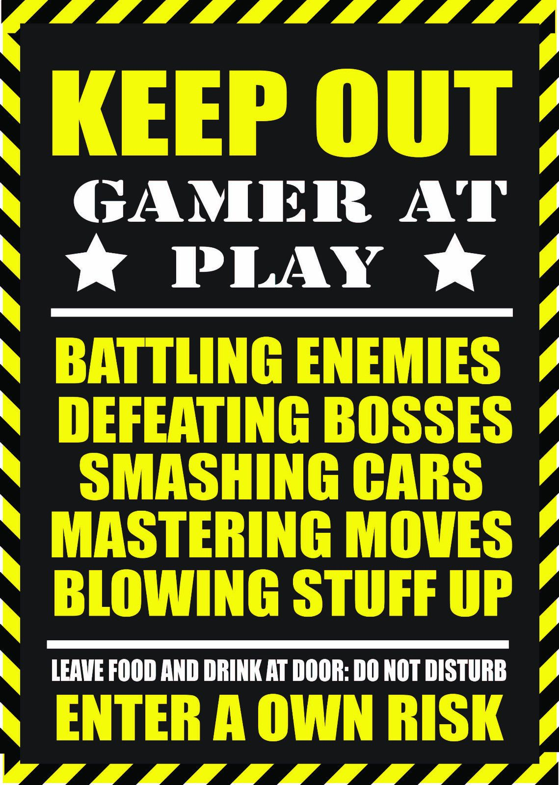 Warning Gamer At Play Metal Sign Plaque For Game Ps4 Ps3