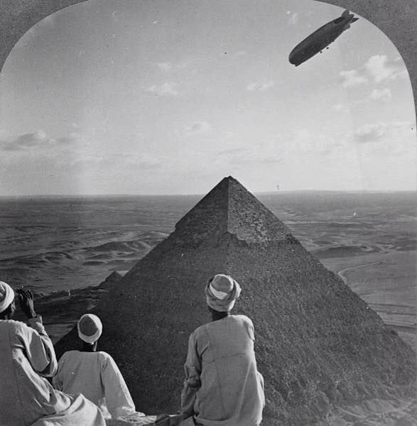 The Graf Zeppelin flies over one of the Pyramids in 1931