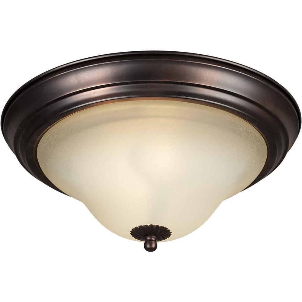 Talista 1Light Antique Bronze Flushmount with Shaded Umber Glass