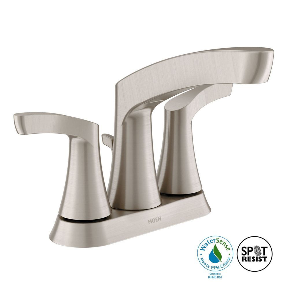 Danika 4 Inch Centerset 2 Handle High Arc Bathroom Faucet With Lever Handles In Brushed Nickel Bathroom Faucets Faucet Lavatory Faucet