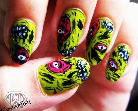 Halloween Zombie Nail Art Designs