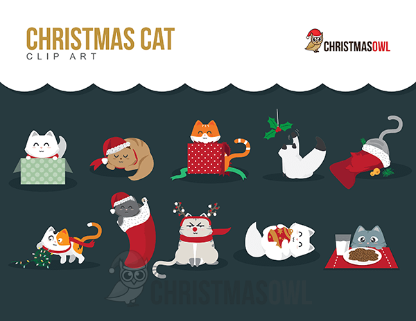 Free Clip Art Featuring Cute Christmas Themed Cats Personal Use Only Get The Clip Art At Https Christmasowl Christmas Cats Clip Art Christmas Clipart Free