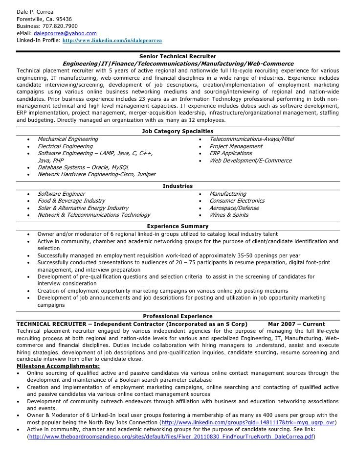 Sample Recruiter Resume Senior Technical Recruiter Resume  Httpjobresumesample686