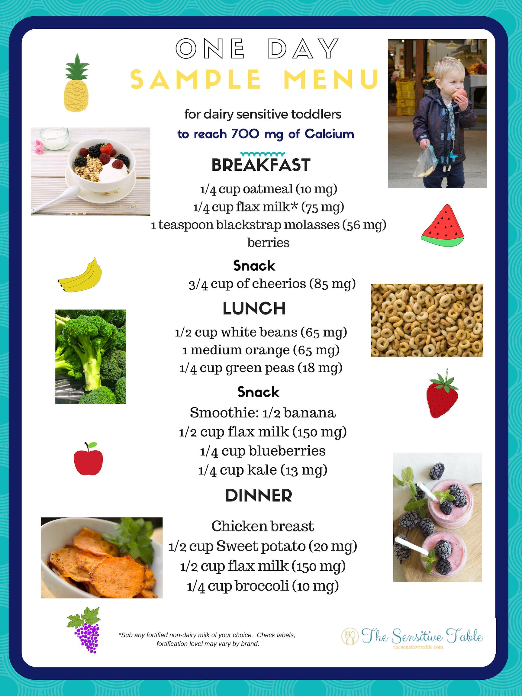sample menu high calcium diet