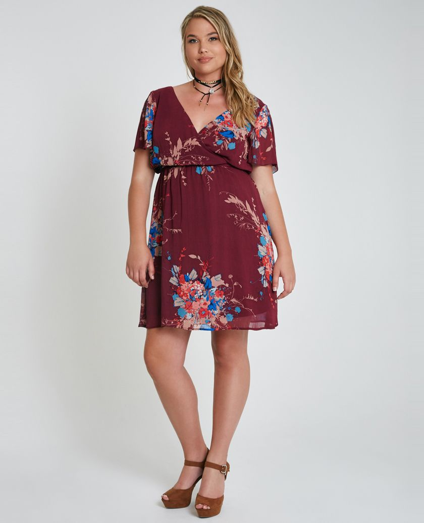 Plus Size Surplice Floral Print Dress Plus Size Surplice ...