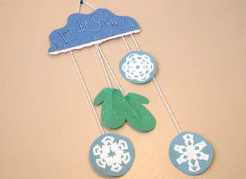Mitten And Snowflake Wall Hanging Craft Winter Crafts For Kids