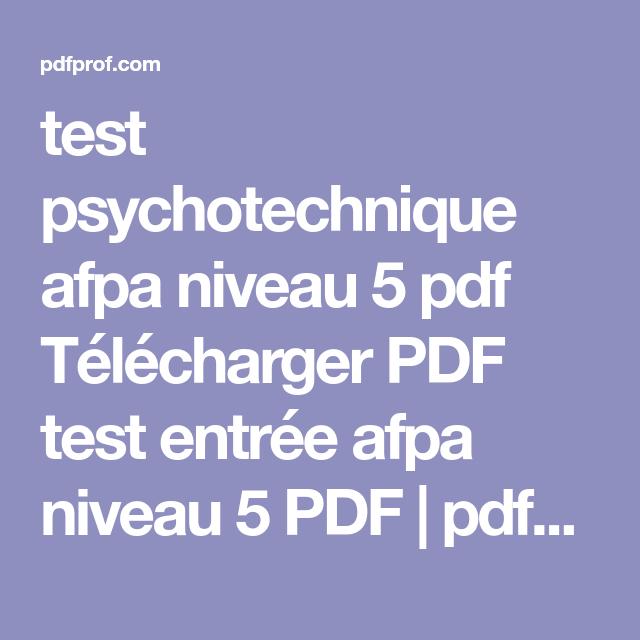 AFPA PSYCHOTECHNIQUE TÉLÉCHARGER TEST