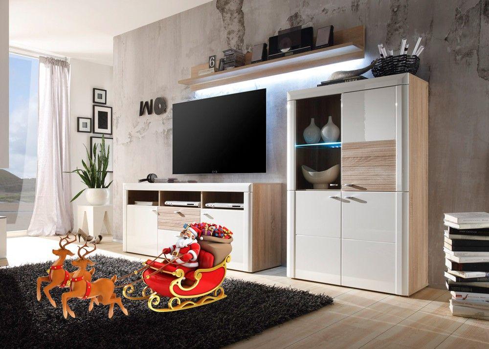 Wohnwand Pesaro Sonoma Eiche mit Weiß HG 20646 Buy now at