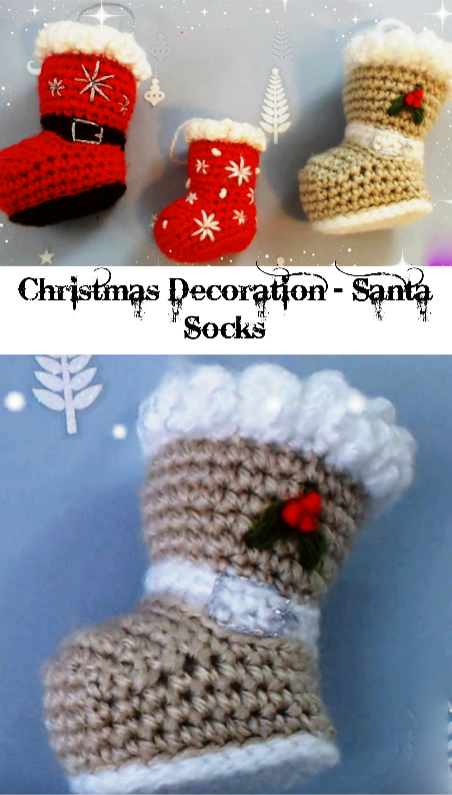 Christmas Santa socks | crochet items | Pinterest | Zapatitos ...