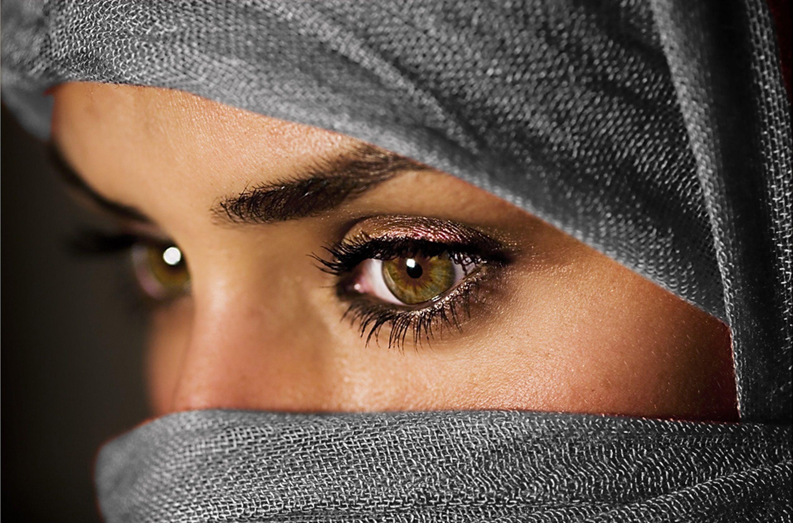 Women Eyes Muslim Islam Hazel Eyes Scarfs Faces Hijab Niqab